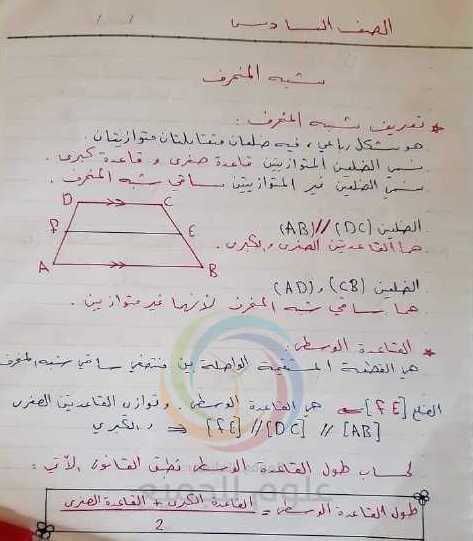الصف السادس الرياضيات درس شبه المنحرف