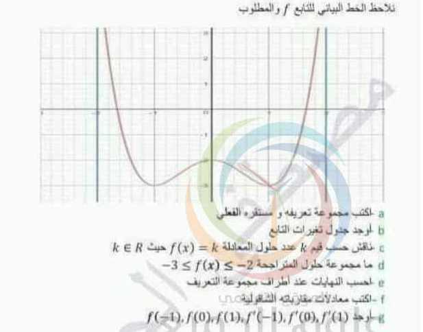 البكالوريا العلمي الرياضيات مثال محلول