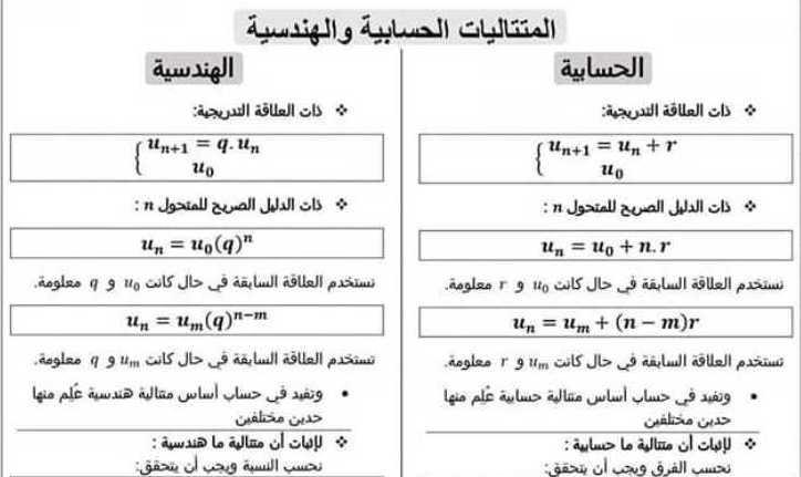 البكالوريا العلمي الرياضيات ملخص المتتاليات الحسابية والهندسية