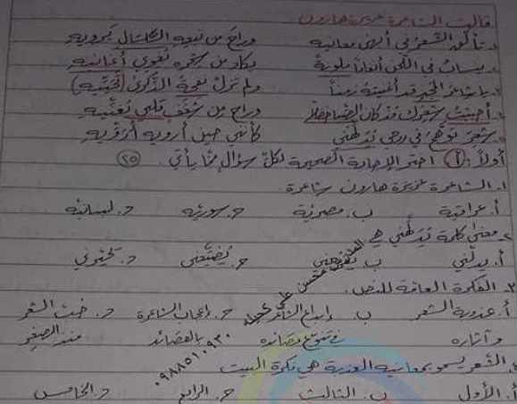 الصف السابع اللغة العربية نموذج امتحاني