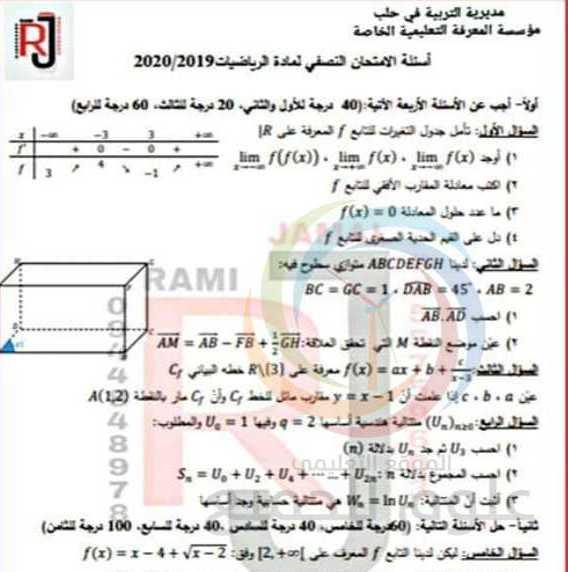 نماذج وزارية رياضيات بكالوريا سوريا - البكالوريا العلمي الرياضيات نموذج اختبار