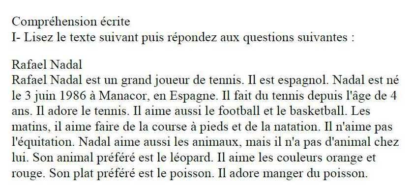 التاسع اللغة الفرنسية نص موازي للدرس الرابع