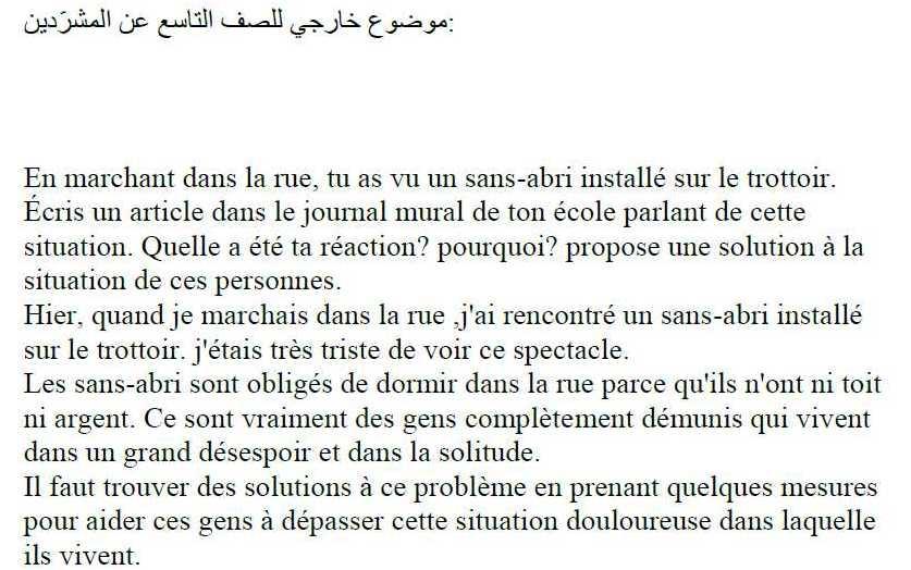 مواضيع الفرنسي للصف التاسع - التاسع اللغة الفرنسية موضوع خارجي عن المشرّدين