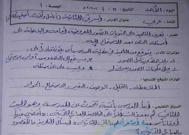 الصف الثالث اللغة العربية تحضير درس أسرتي الثانية