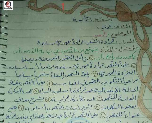 الصف السادس اللغة العربية تحضير درس العيد
