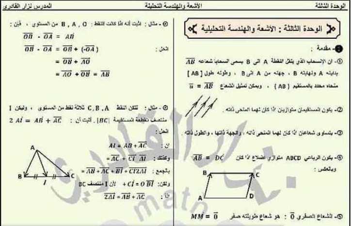 الصف العاشر الرياضيات خلاصة الوحدة الثالثة هندسة