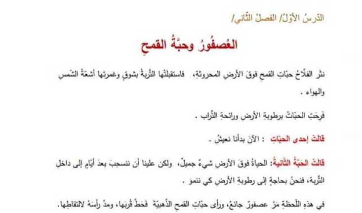 الصف الرابع اللغة العربية نص استماع العصفور وحبة القمح