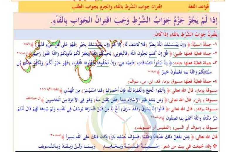 التاسع اللغة العربية شرح درس اقتران جواب الشرط بالفاء