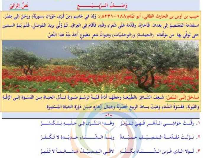 التاسع اللغة العربية شرح درس وصف الربيع