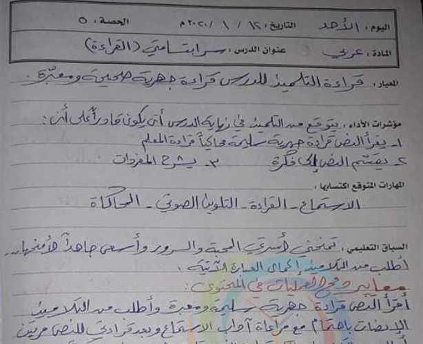 الصف الثالث اللغة العربية تحضير درس سر ابتسامتي