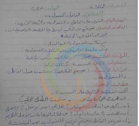 الصف الخامس اللغة العربية تحضير درس الفاعل والمفعول به