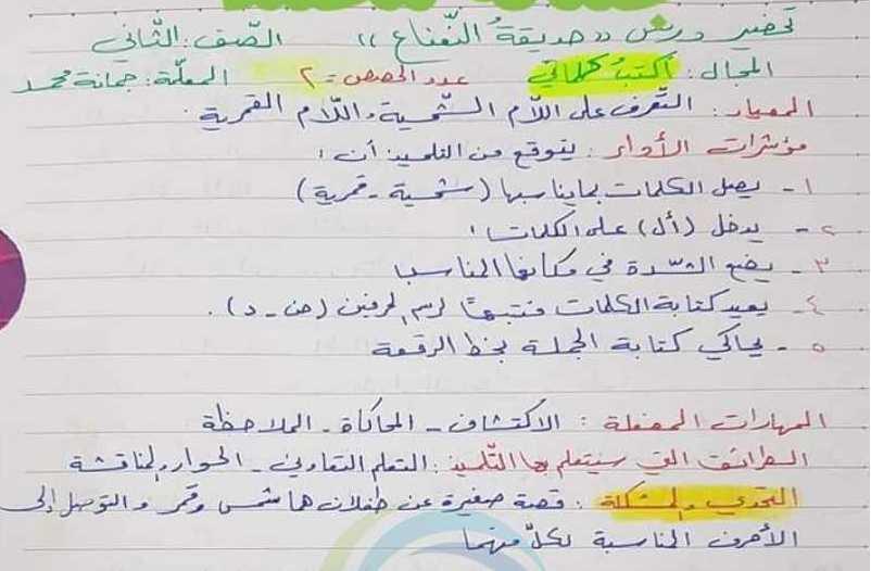 الصف الثاني اللغة العربية تحضير درس حديقة النعناع