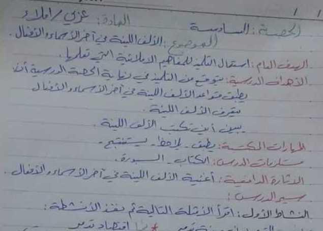 الصف الخامس اللغة العربية  تحضير درس الألف اللينة في اخر الاسماء والافعال