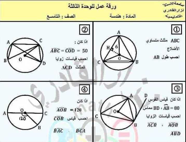 التاسع الرياضيات ورقة عمل للوحدة الثالثة هندسة