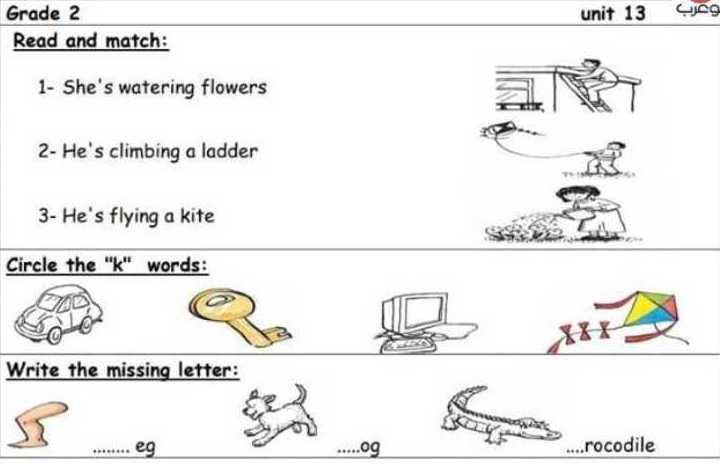 الصف الثاني اللغة الانكليزية اوراق عمل الدرس 13