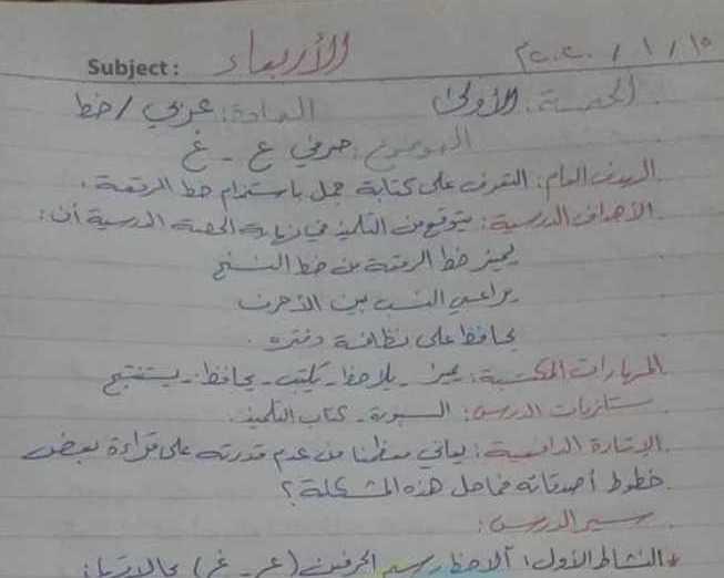 الصف الخامس اللغة العربية تحضير درس حرفي ع _ غ