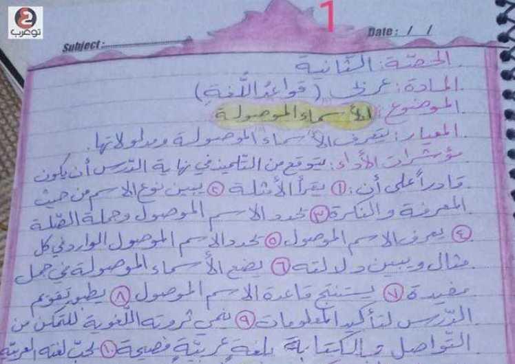 الصف السادس اللغة العربية تحضير درس الأسماء الموصولة