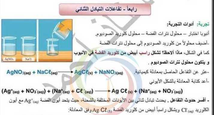 التاسع الكيمياء ورقة عمل درس تفاعلات التبادل الثنائي