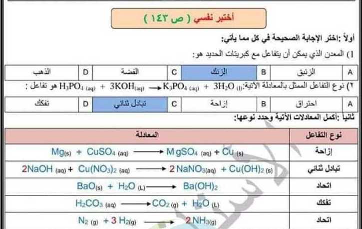 حل  درس أنواع التفاعلات الكيميائية كيمياء التاسع