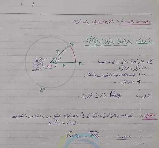 شرح وحل الوحدة الثالثة الدائرة والمضلعات رياضيات الصف التاسع