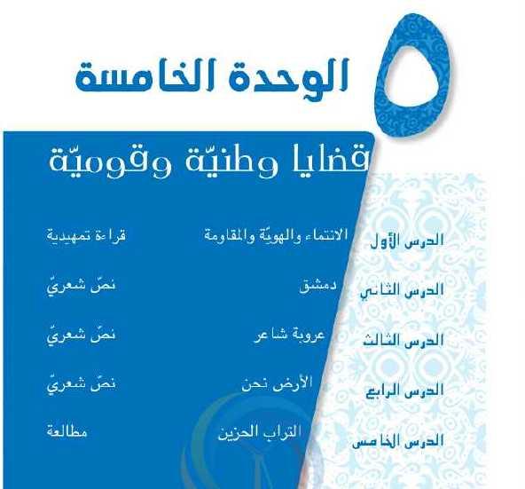 حل الوحدة الخامسة عربي الصف العاشر