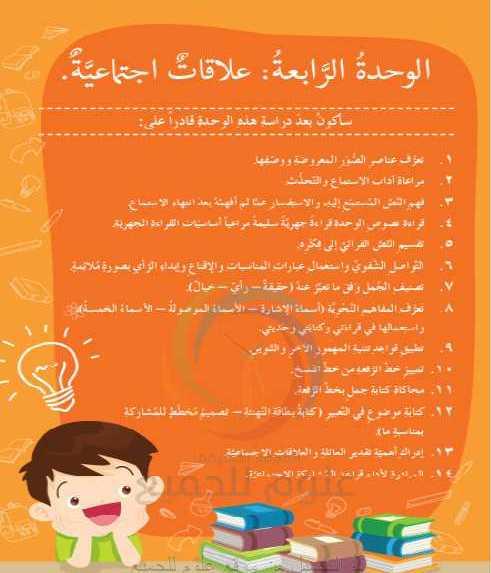 حل الوحدة الرابعة عربي الصف السادس