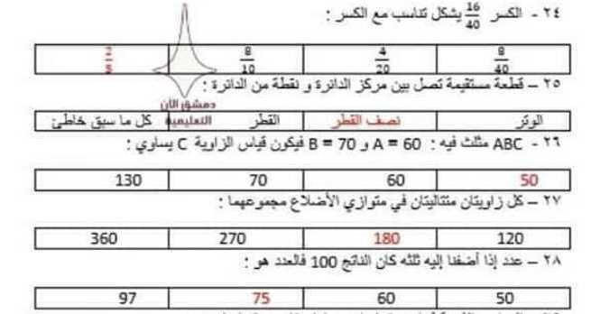 نماذج أسئلة محلولة لمسابقة الوكلاء سوريا