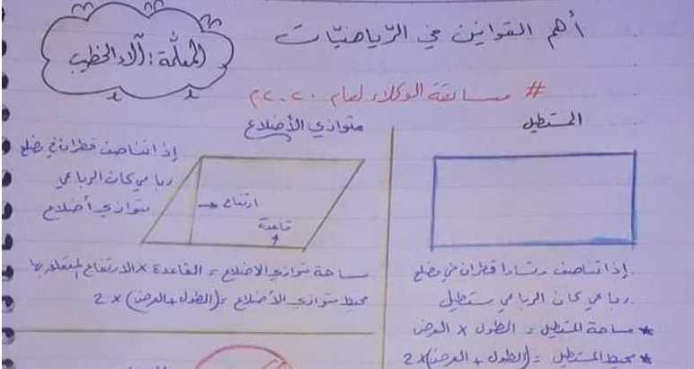 قوانين وأساسيات في مادة الرياضيات تفيد مسابقة الوكلاء سوريا