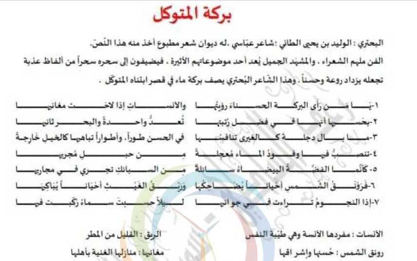 قصيدة بركة المتوكل اللغة العربية الصف الثامن
