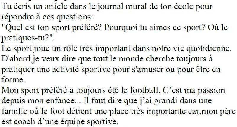 موضوع عن رياضتك المفضلة اللغة الفرنسية الصف التاسع