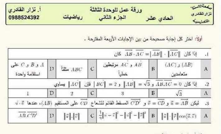 ورقة عمل  للوحدة الثالثة رياضيات الصف الحادي عشر