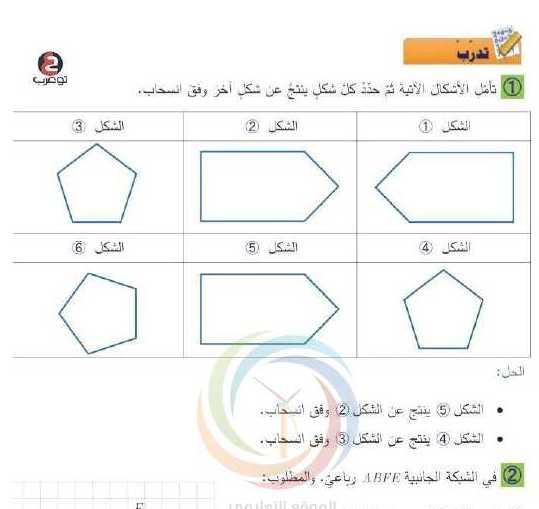 حل درس الانسحاب رياضيات الصف السادس