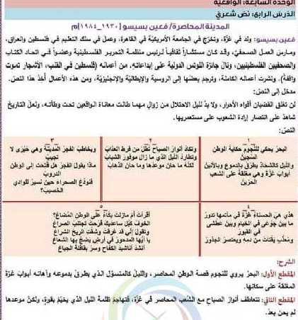 شرح وحل قصيدة المدينة المحاصرة اللغة العربية الصف الحادي عشر أدبي