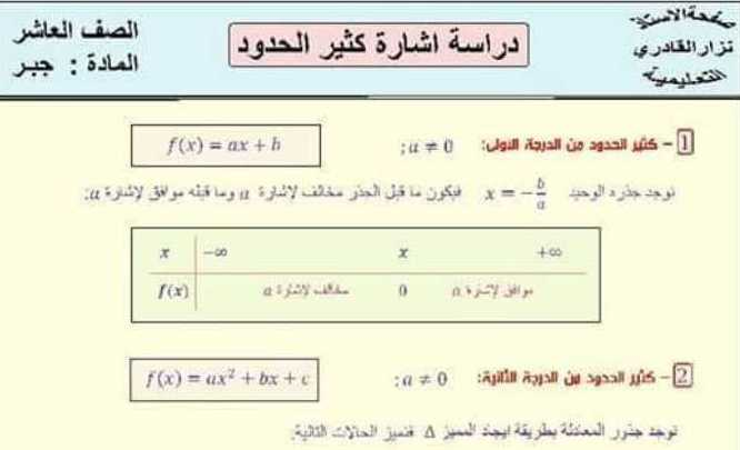 ملخص درس دراسة اشارة كثير حدود رياضيات الصف العاشر