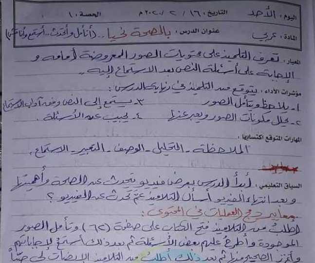 تحضير درس بالصحة نحيا  اللغة العربية الصف الثالث