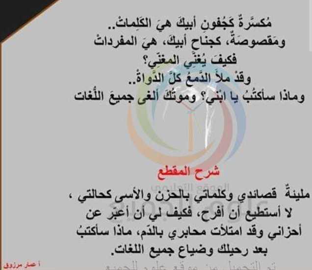 شرح قصيدة  الأمير الدمشقي اللغة العربية البكالوريا
