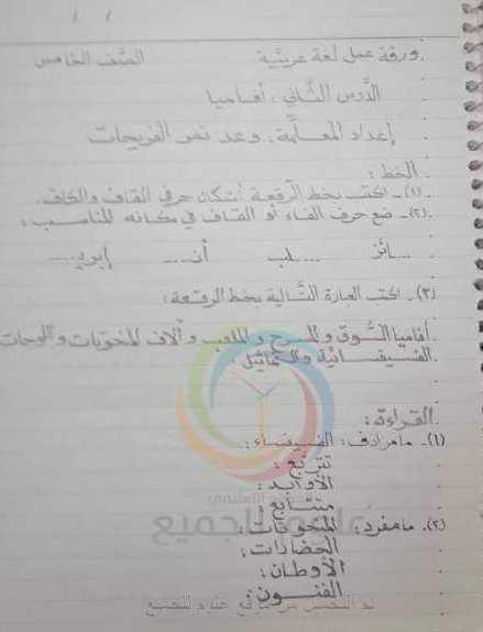 ورقة عمل درس أفاميا اللغة العربية الصف الخامس