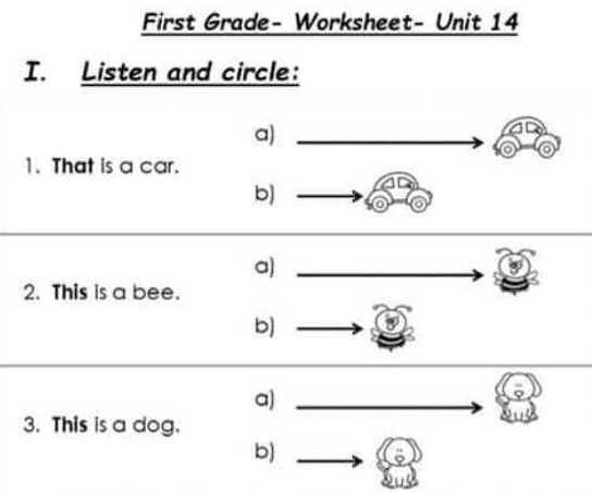 ورقة عمل الوحدة 14 اللغة الانكليزية الصف الأول