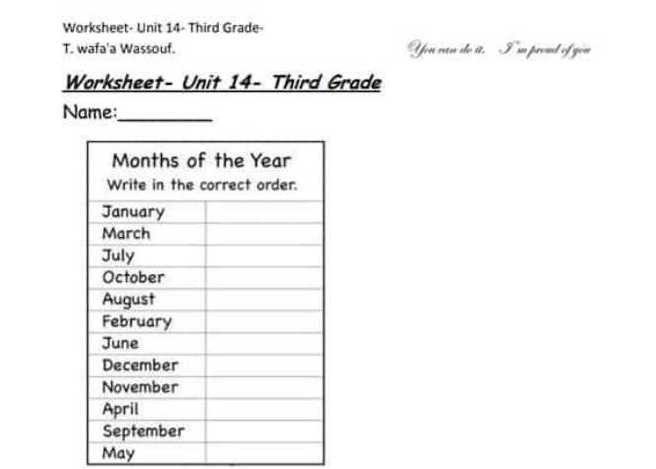 ورقة عمل الوحدة 13-14  اللغة الانكليزية الصف الثالث