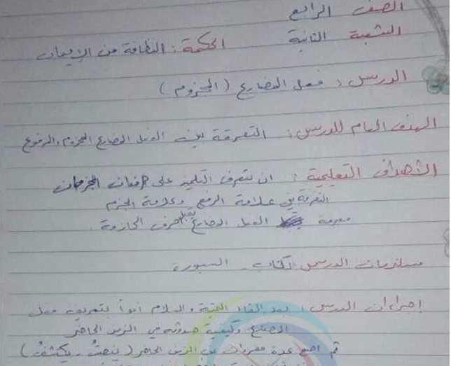 تحضير درس الفعل المضارع المجزوم اللغة العربية الصف الرابع