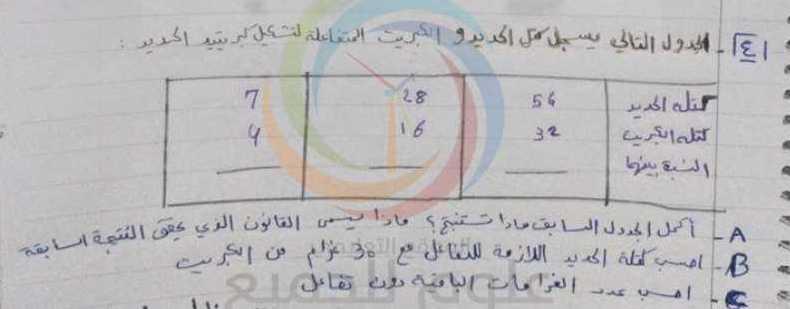 ورقة عمل درس قانون التفاعل الكيميائي الصف الثامن