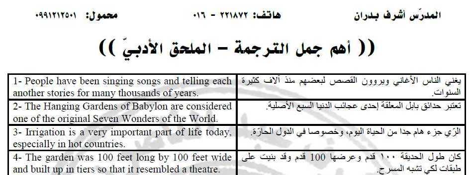 اهم جمل الترجمة للملحق الأدبي اللغة الانكليزية البكالوريا الأدبي