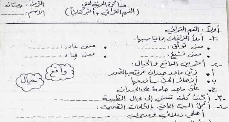 نموذج مذاكرة الفصل الثاني اللغة العربية الصف الثالث