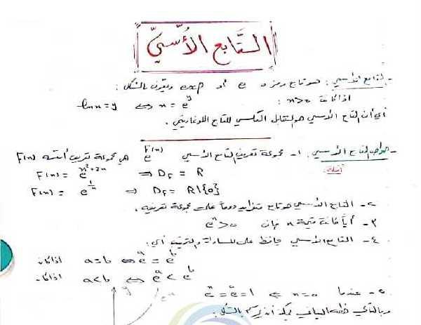 شرح درس التابع الاسي رياضيات البكالوريا العلمي