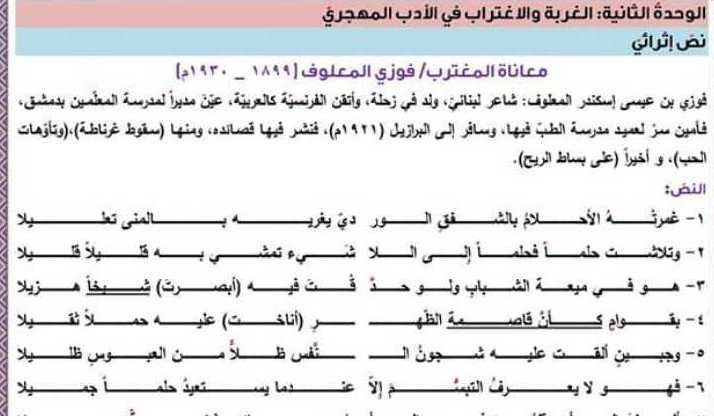 شرح وحل نص معاناة المغترب(نص إثرائي)  اللغة العربية البكالوريا العلمي