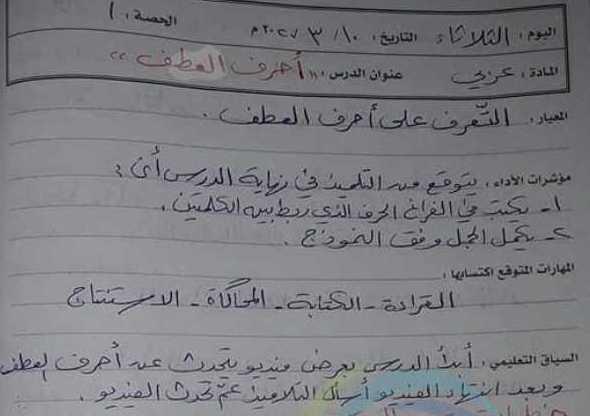 تحضير درس سلامتي (أحرف العطف) اللغة العربية الصف الثالث