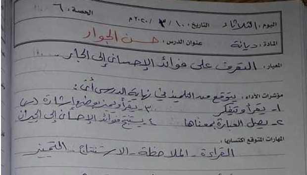 تحضير درس حسن الجوار ديانة الصف الثالث