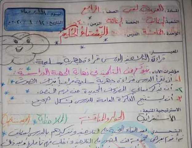 تحضير درس الشتاء الحكيم اللغة العربية الصف الرابع