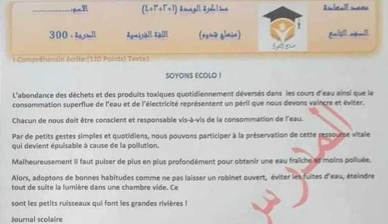 نموذج مذاكرة الفصل الثاني اللغة الفرنسية منهاج قديم الصف التاسع