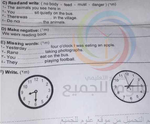 نموذج مذاكرة الوحدات 13-18 اللغة الانكليزية الصف الخامس